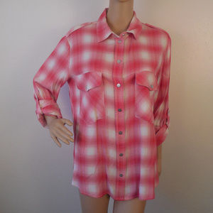 Sanctuary Plaid Boyfriend Shirt Snap Button Down